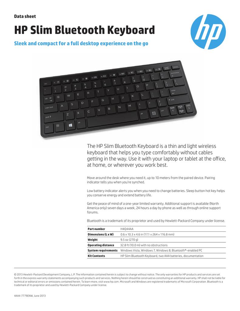 a4a77ebb598 HP Slim Bluetooth Keyboard | manualzz.com