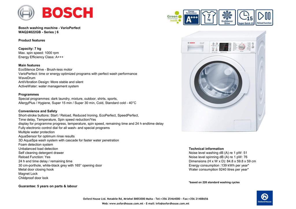Bosch Washing Machine Varioperfect Manualzz