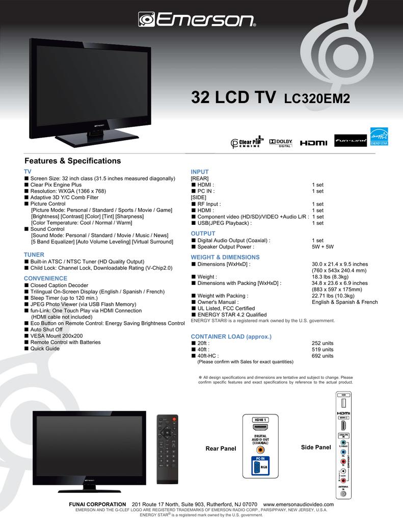 32 Lcd Tv Lc320em2 Manualzz