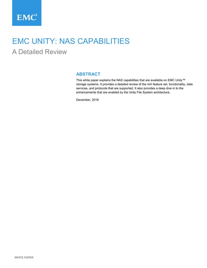 EMC UNITY: NAS CAPABILITIES   manualzz com