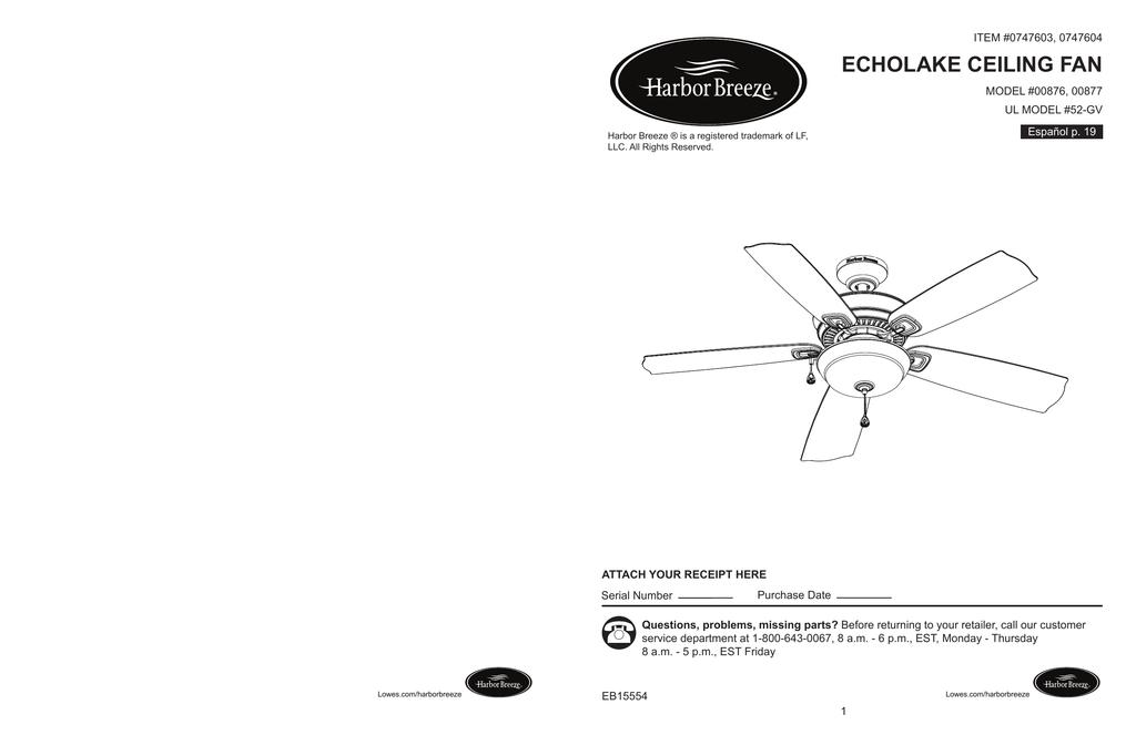 echolake ceiling fan  manualzz