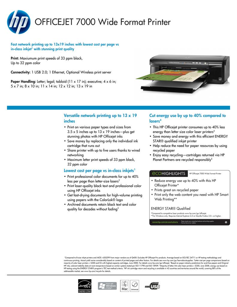 OFFICEJET 7000 Wide Format Printer   manualzz com