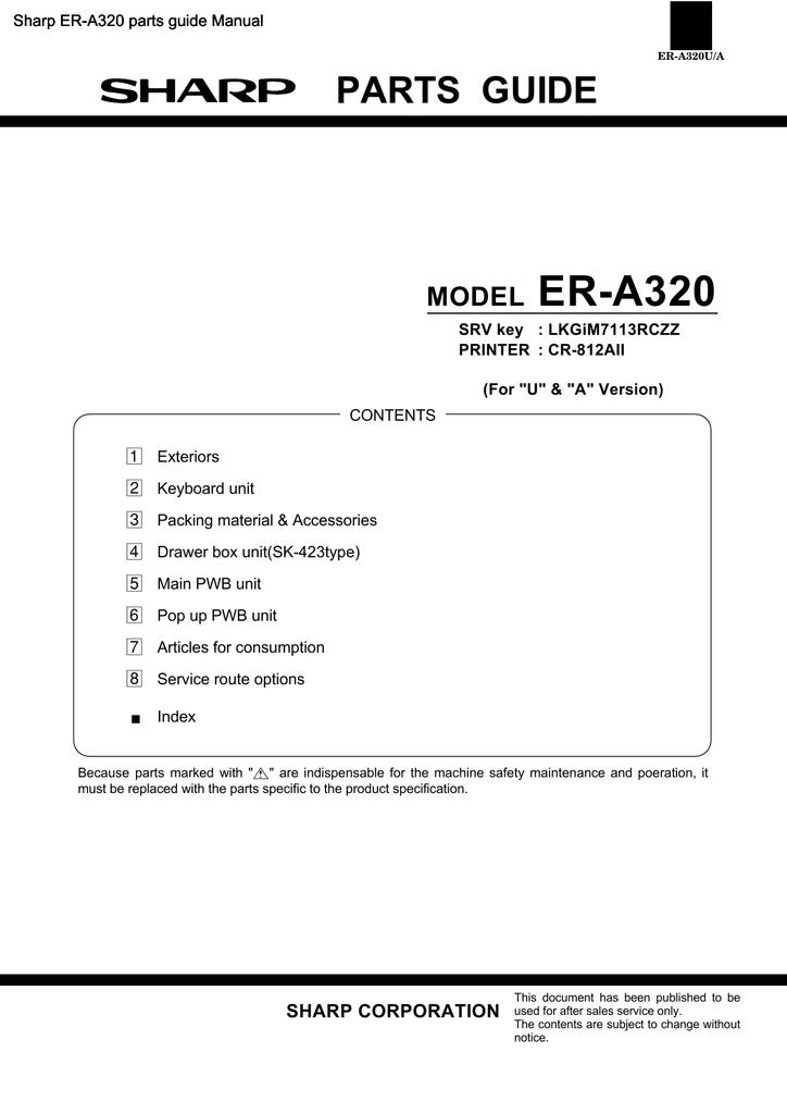 PREVIEW the Sharp ER-A320 parts guide manual | manualzz com