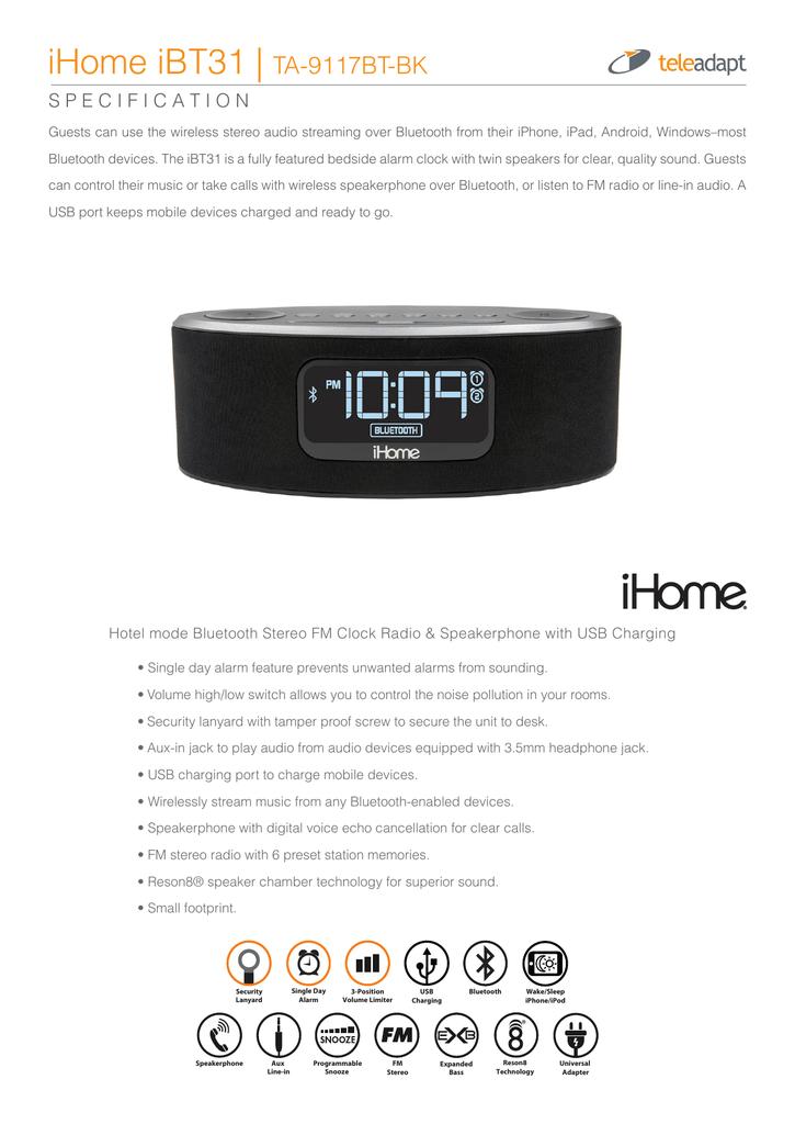 iHome iBT31 | TA-9117BT-BK | manualzz com