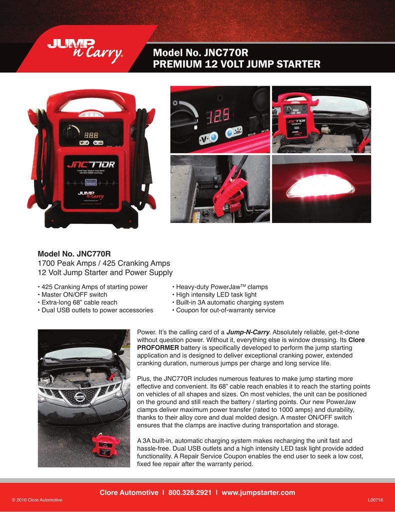 Jump-N-Carry JNC770R 1700 Peak Amp//425 Cranking Amp Premium 12 Volt Jump Starter