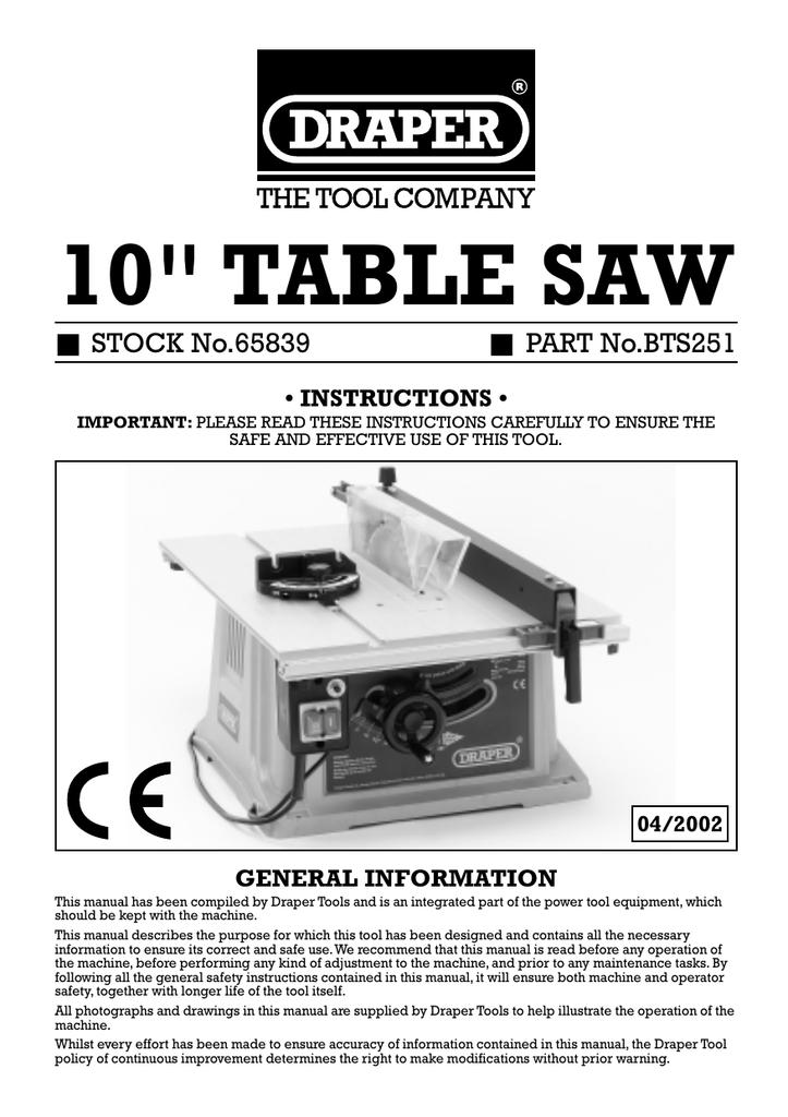10 Table Saw Draper Tools Manualzz