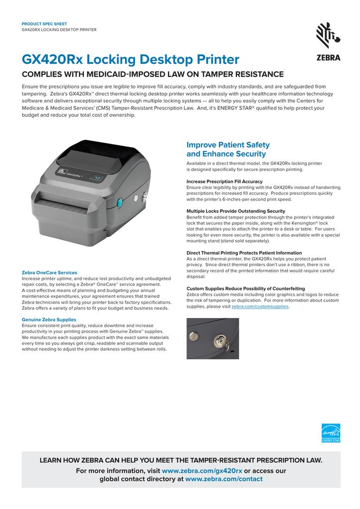 gx420rx locking desktop printer | manualzz com