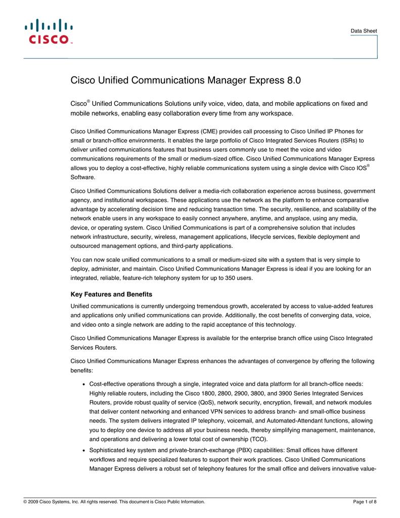 Cisco Unified Communications Manager Express 8 0 | manualzz com