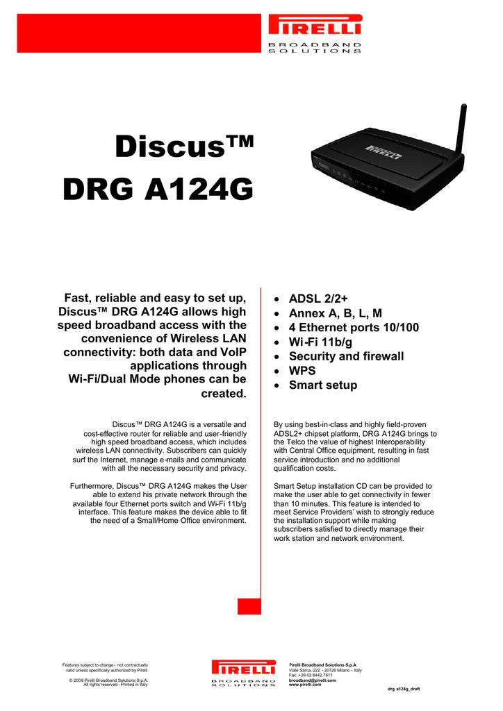 Firmware router pirelli drg a125g