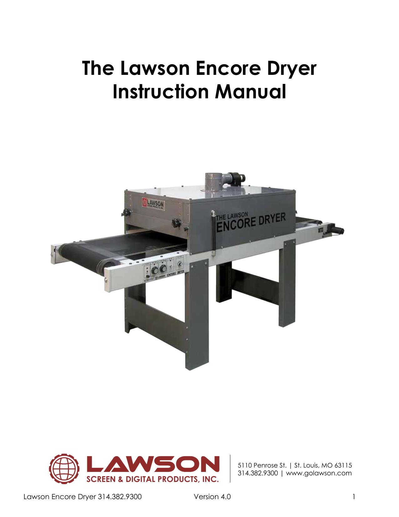The Lawson Encore Dryer Instruction Manual Manualzzcom