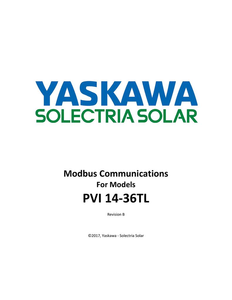 Modbus Communications For Models PVI 14-36TL | manualzz com