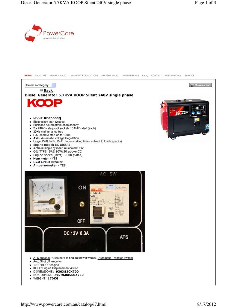 Page 1 of 3 Diesel Generator 5 7KVA KOOP Silent 240V single