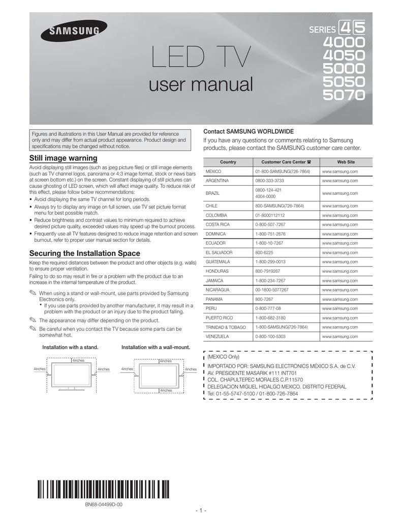Samsung UN32EH5000 LED HDTV Manual | Manualzz