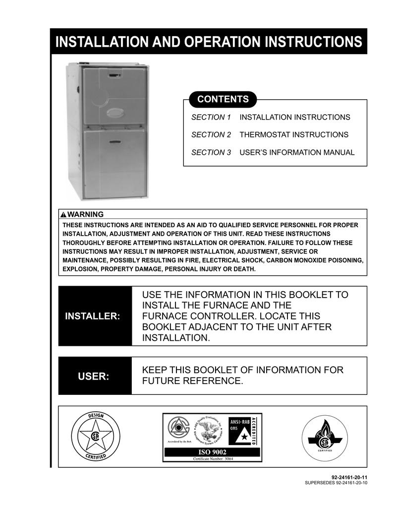 92-24161-20 Rev  11 RGFD Modulating Furnace Installaiton