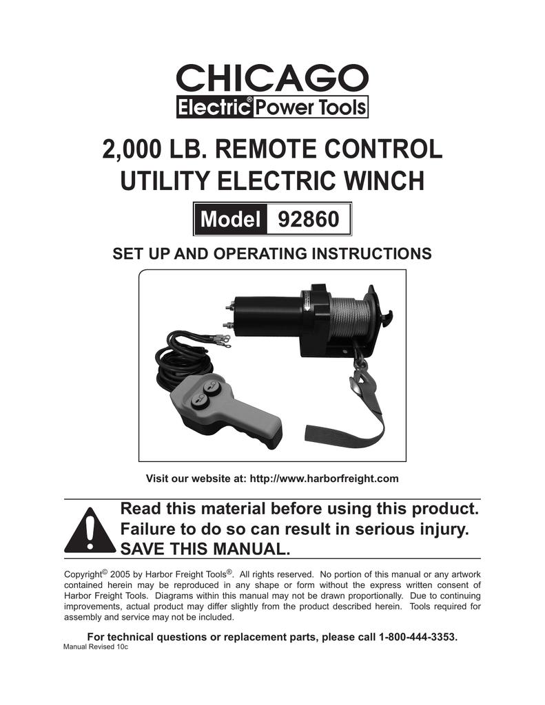 2000 lb. remote control utility electric winch | Manualzzmanualzz