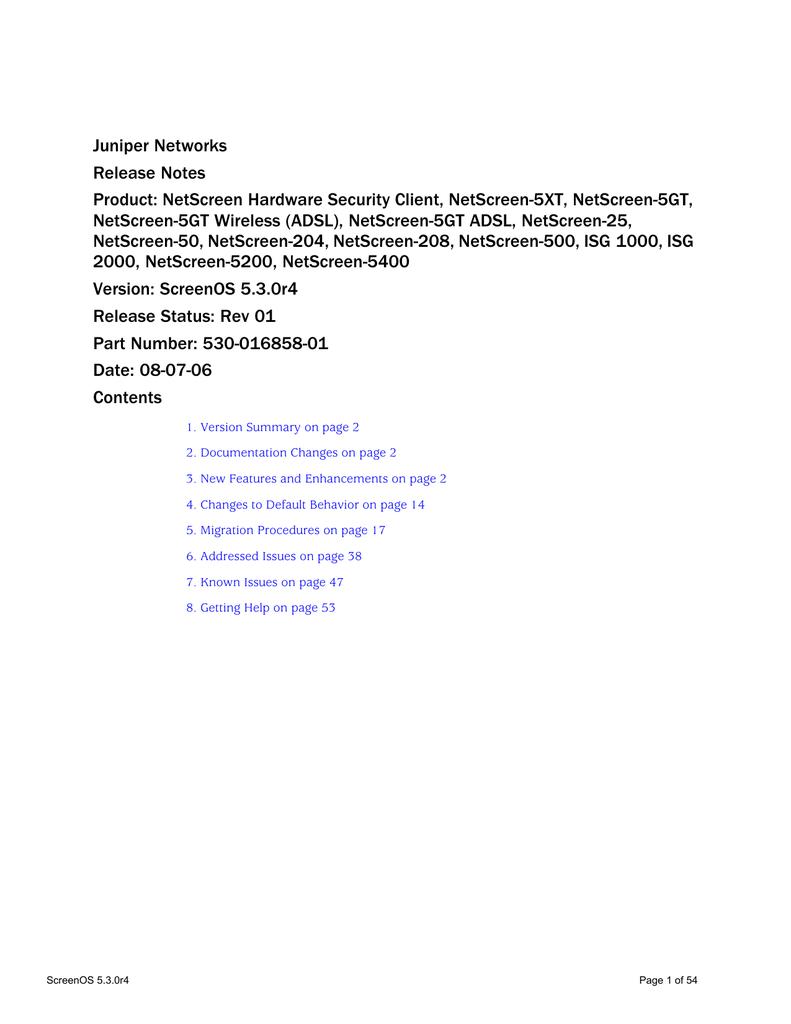 Release Notes for Juniper NetScreen ScreenOS 5 3 0