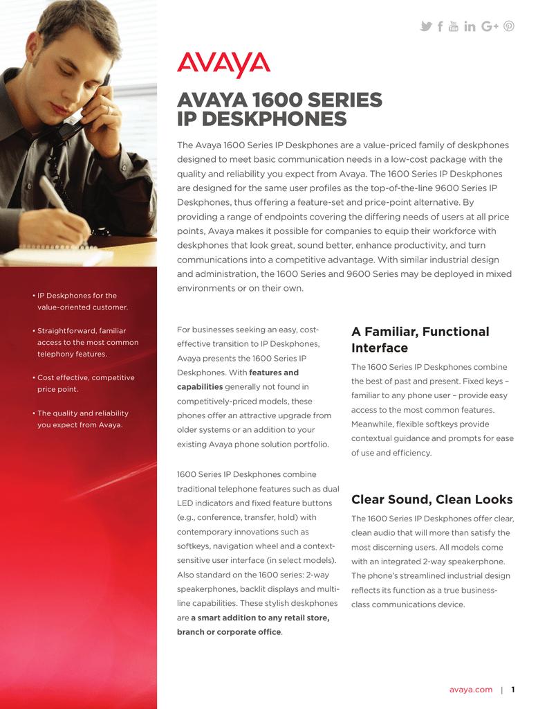 Avaya 1600 Series IP Deskphones | manualzz com