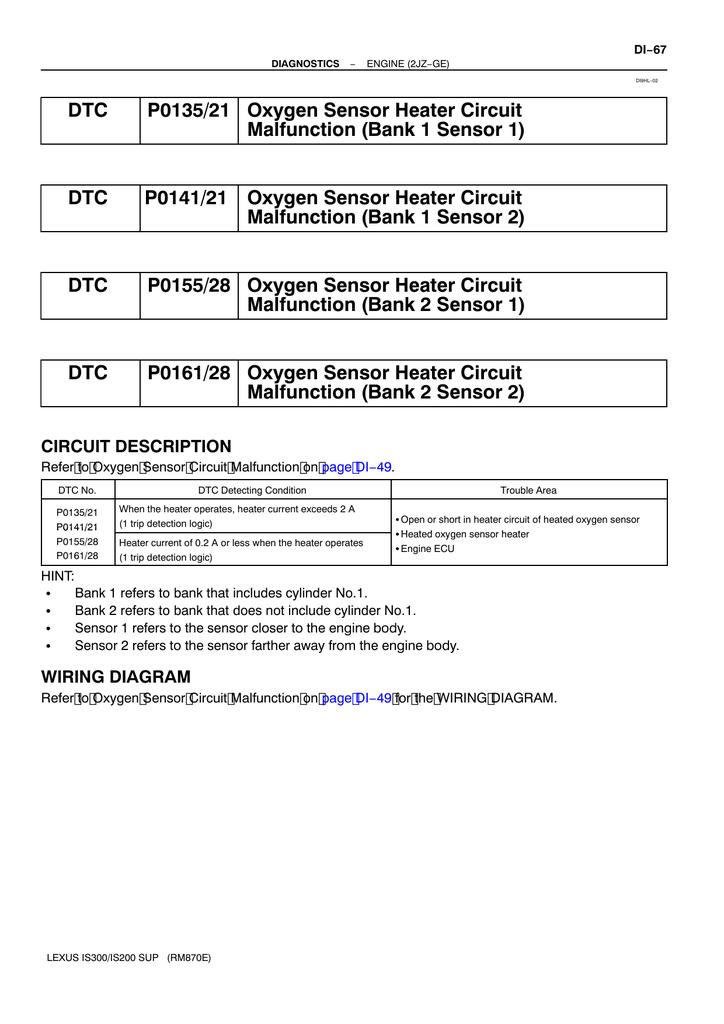 DTC P0135/21 Oxygen Sensor Heater Circuit Malfunction (Bank ... on