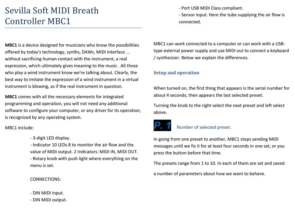 Sevilla Soft MIDI Breath Controller MBC1 | manualzz com