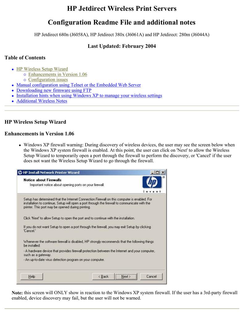 HP Jetdirect Wireless Print Servers Configuration Readme