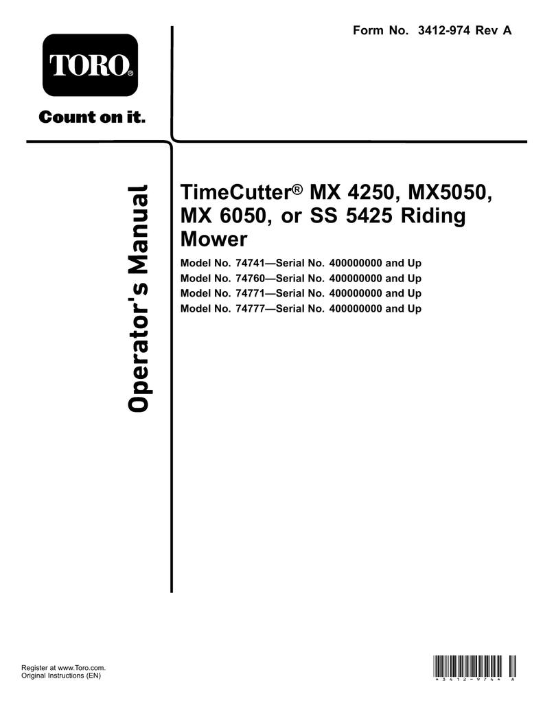 TimeCutter® MX 4250, MX5050, MX 6050, or SS 5425 Riding