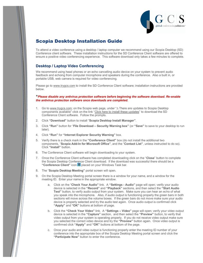 Scopia Desktop Installation Guide | manualzz com