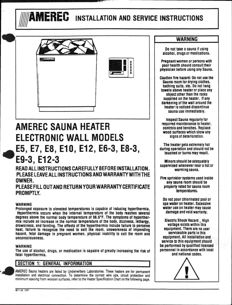 Amerec Sauna Heater Electronic Wall Models E5 E7 Wiring Diagram