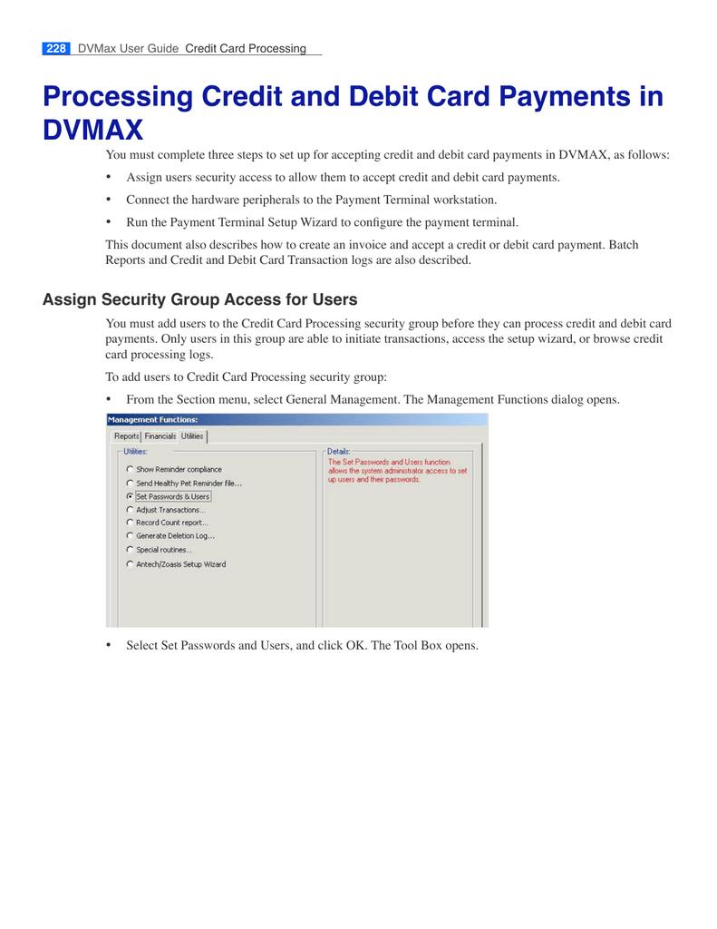 Credit Card Processing Documentation | manualzz com