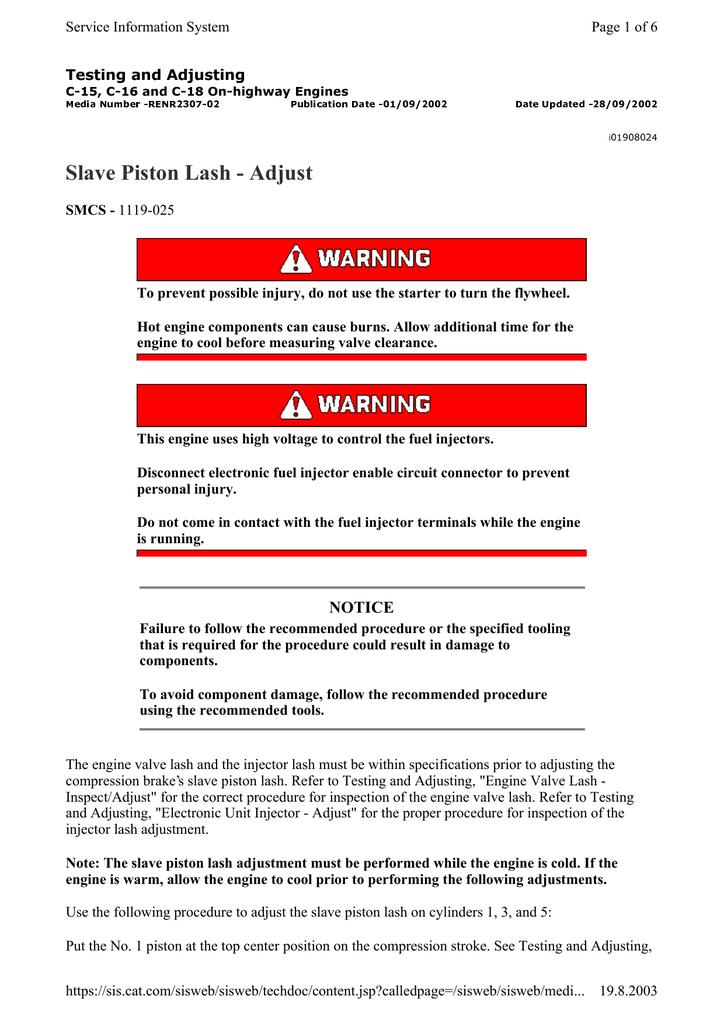 Slave Piston Lash | manualzz com