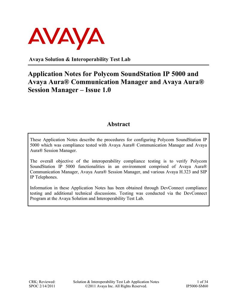 Application Notes for Polycom SoundStation IP 5000 and Avaya