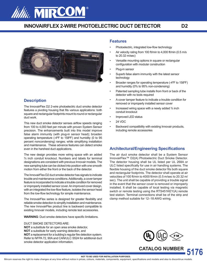 Innovairflex 2 Wire Photoelectric Duct Detector D2 Manualzz