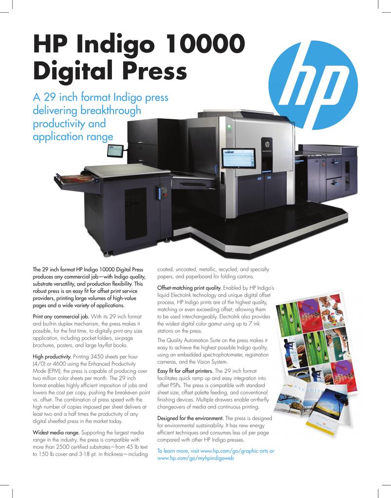 Hp Indigo 10000 Digital Press Manual - Digital Photos and