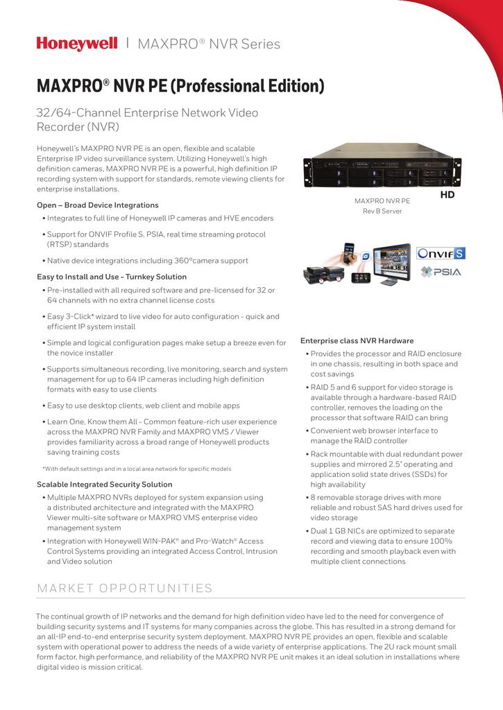 MAXPRO NVR 4 0 PE Data Sheet | manualzz com