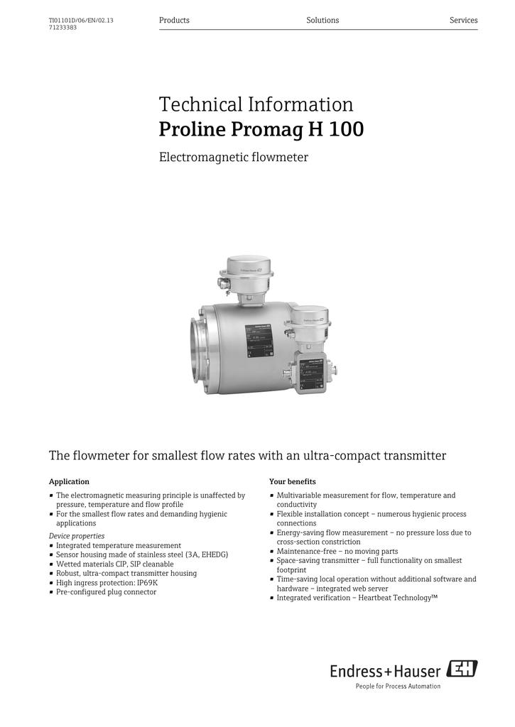 Proline Promag H 100 - Endress+Hauser Portal | manualzz com