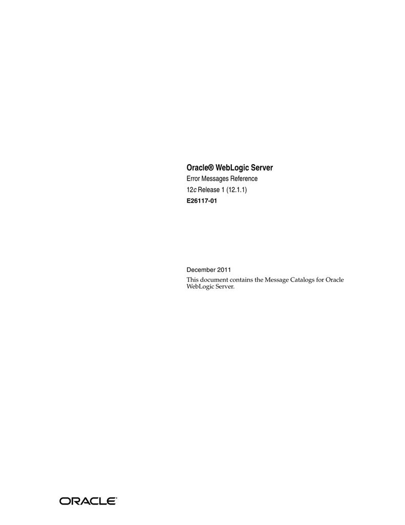 WebLogic Server Error Messages Reference   manualzz com