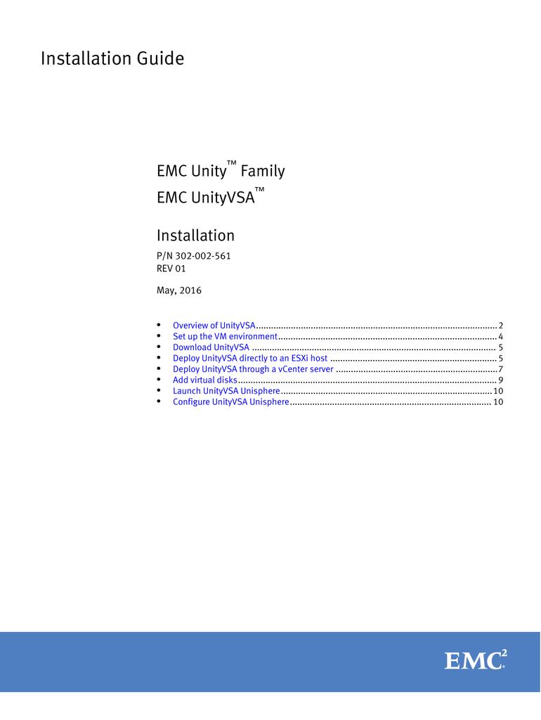 EMC Unity Family EMC UnityVSA Installation Guide   manualzz com