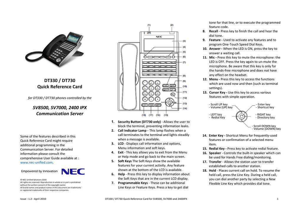DT330 DT730 Quick Card - NEC Development Section | manualzz com