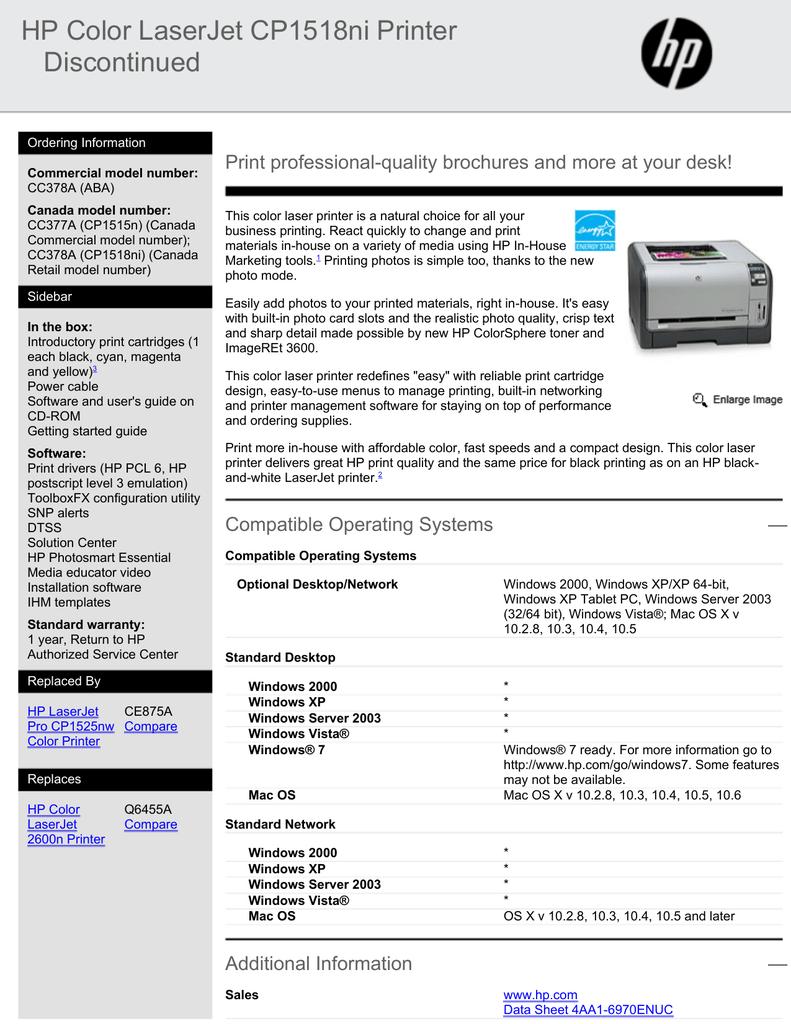HP Color LaserJet CP1518ni Printer Discontinued | manualzz com
