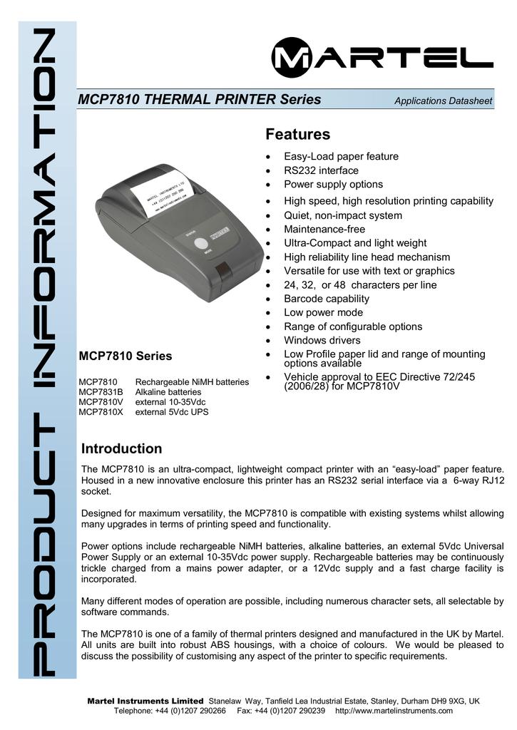 MCP7810 THERMAL PRINTER Series   manualzz com