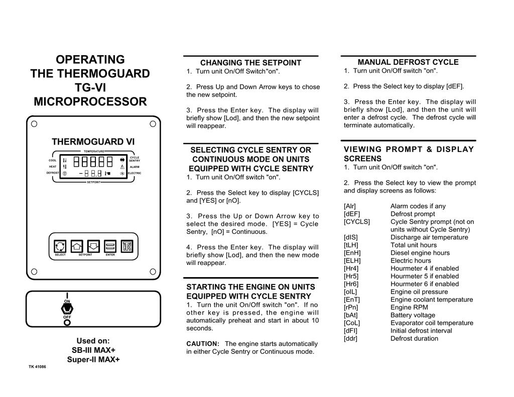 OPERATING THE THERMOGUARD TG | manualzz com