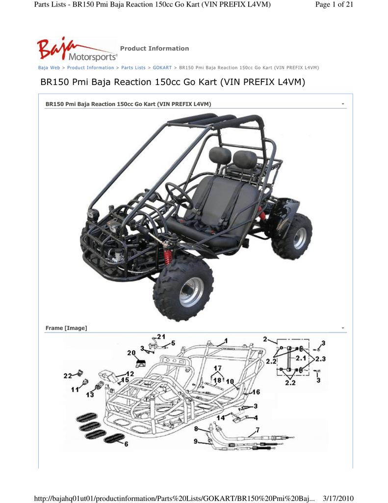 BR150 Pmi Baja Reaction 150cc Go Kart (VIN PREFIX L4VM