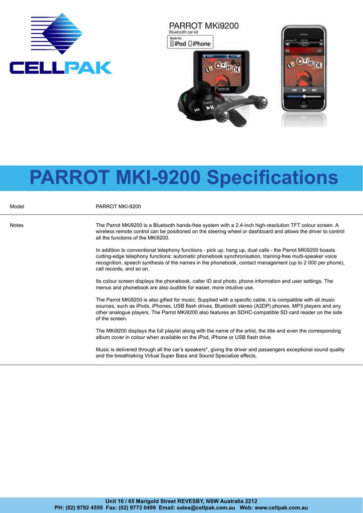 Parrot Mki 9200 Specifications Manualzz Com