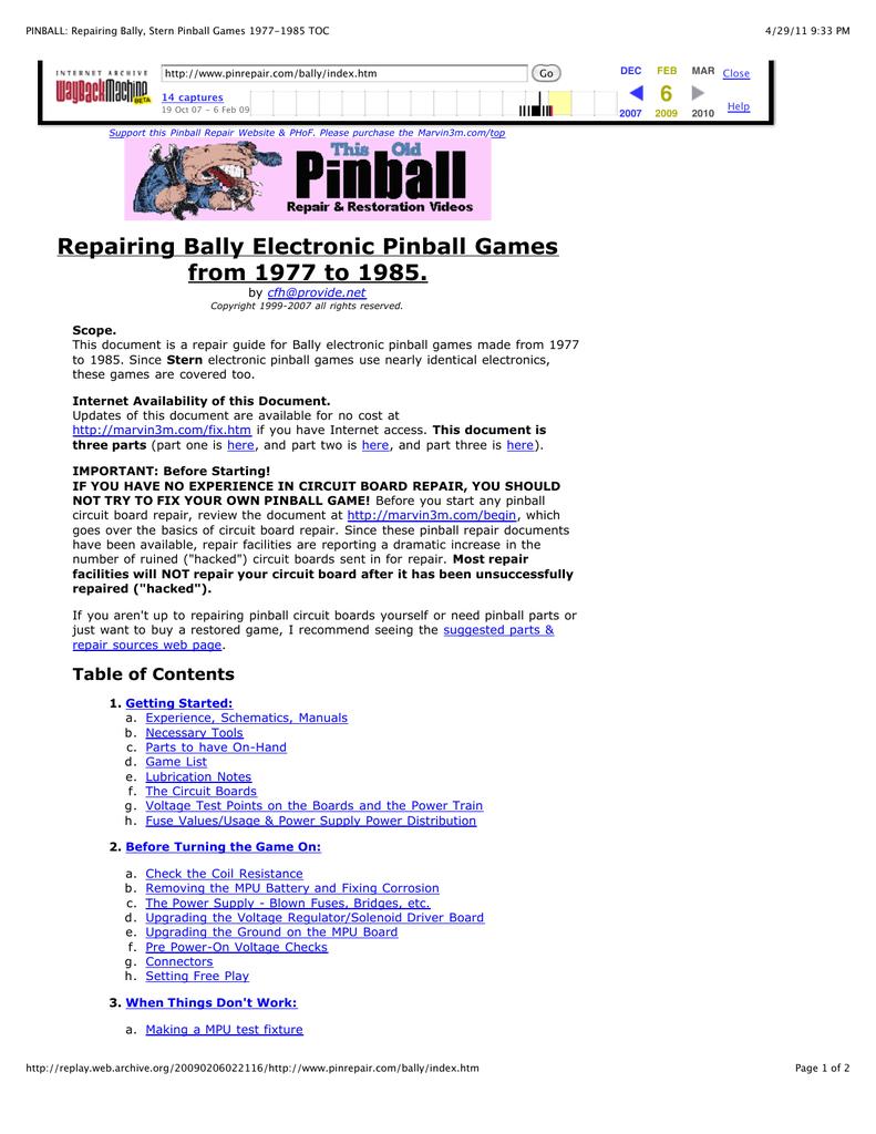 PINBALL: Repairing Bally, Stern Pinball Games 1977 | manualzz com