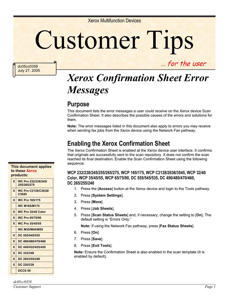Xerox Confirmation Sheet Error Messages   manualzz com