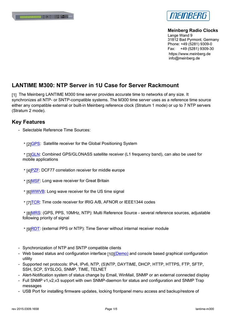 LANTIME M300: NTP Server in 1U Case for Server   manualzz com