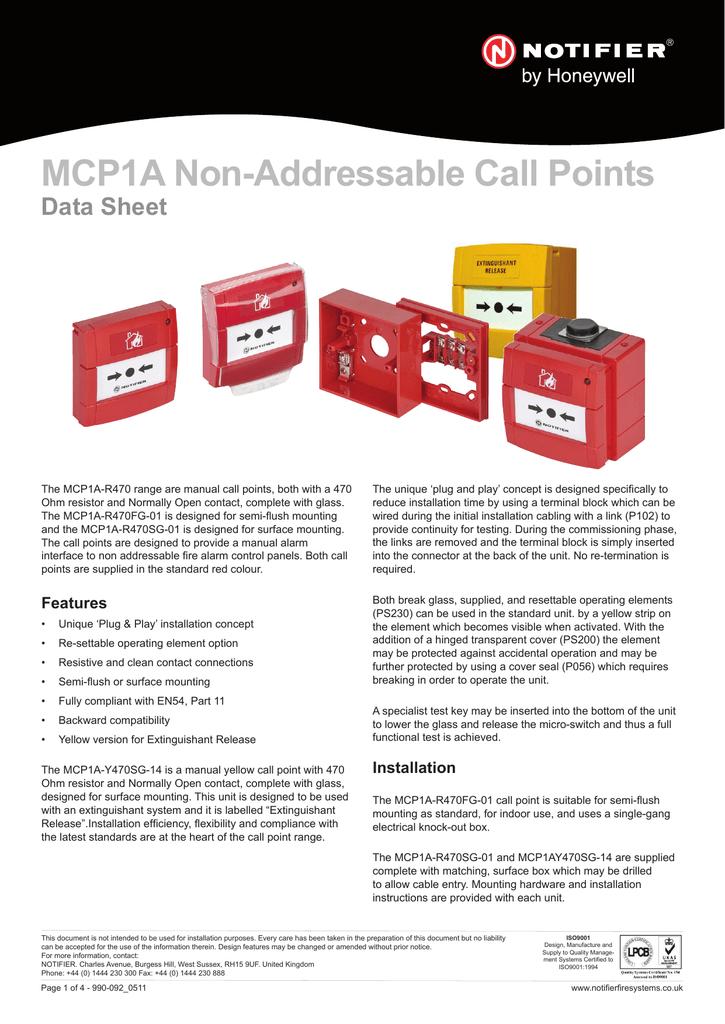 MCP1A Non-Addressable Call Points Data Sheet | manualzz com