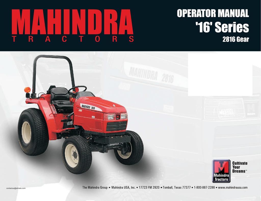 2816 Operators Manual Manualzz Com Wiring Diagram Mahindra 2816 Further  Mahindra Tractor Oil Filter
