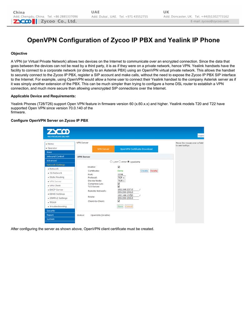 Zycoo IP PBX OpenVPN for Yealink IP Phone Configuration | manualzz com