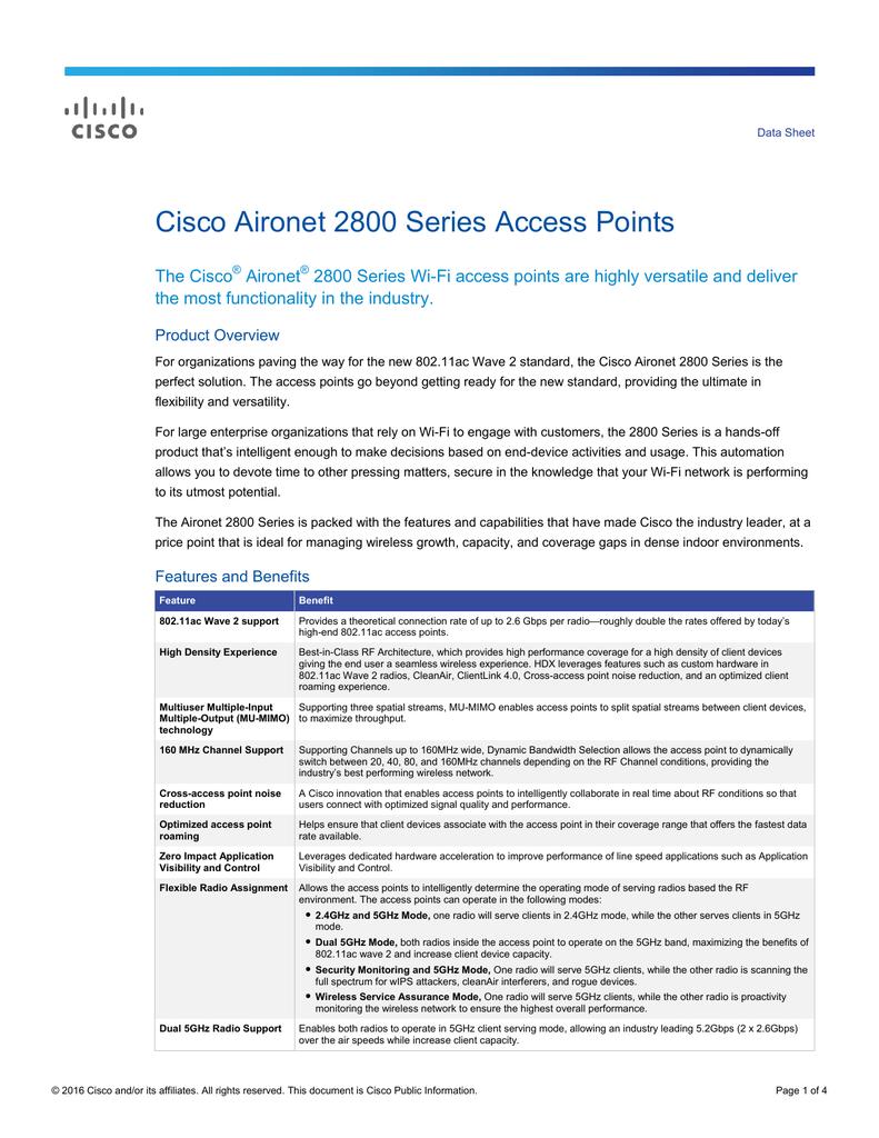 Cisco Aironet 2800 Series Access Points Data Sheet