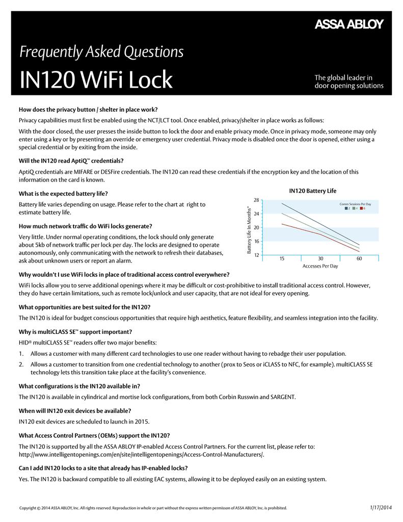 IN120 WiFi Lock | manualzz com